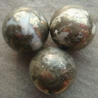 Hot!!! 3PCS 30mm Natural Pyrite Sphere Crystal Ball White Quartz Healing