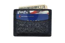 KELARANUSA - Black Genuine Ostrich Skin 5 Pocket Card Case MADE IN USA