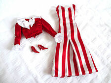 Barbie Doll Lot Clothes Coca Cola After Walk Outfit Red Stripes Dress Shoes