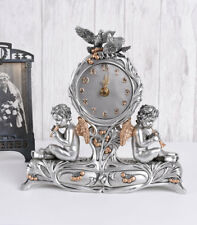 Tischuhr Barock Engel Kaminuhr Amoretten Figuren Uhr Silber Antik
