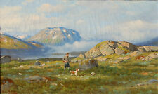 Olaf Nordlien 1864-1929 Norway oil on canvas hunting dog pointer fjord Norsk NOR
