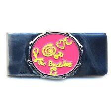 The Beatles Pink Love Drum Metal Silver Money Cash Holder Clip Gift Wallet NEW