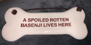 Smoky Mountain Pottery 1994 Spoiled Basenji Lives Here Bone Shaped Wall Decor