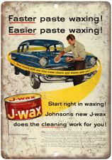 "Johnson's Auto J-Wax Car Wax Ad 10"" x 7"" Reproduction Metal Sign A183"