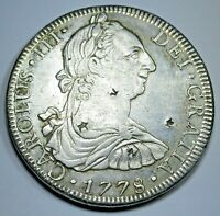 1778 Chopmarks Spanish Silver 8 Reales Eight Real Antique Colonial Dollar Coin