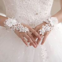 White Lace Bridal Gloves Wrist Length Fingerless Gloves Wedding Accessories