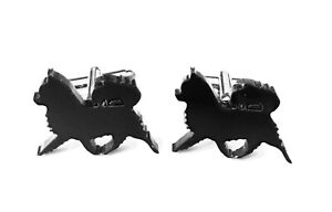 Chihuahua Long Coated Dog Cufflinks Mens Novelty Dog Shirt Cufflinks In Black