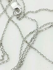 """10k Solid White Gold Adjustable Cable Necklace Pendant Chain Up to 22"""" .9mm"""