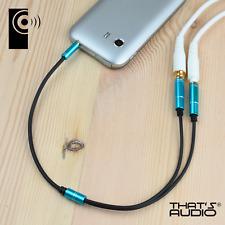 Headphone / Earphone Y Splitter cable BLUE 3.5mm Stereo 1 male : 2 female Jacks