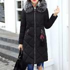 hiver pour femmes Long Coton parka col de fourrure avec capuche manteau