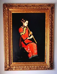 Beautiful Chinese Girl Playing Flute Oil Painting In Stunning Timber Gilt Frame