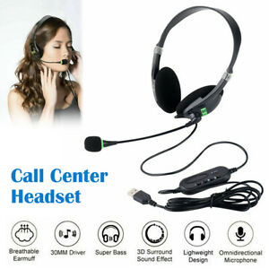 USB Computer Headset Wired Over Ear Headphones for Call Center PC Laptop Skype