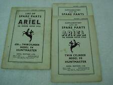 1956 ARIEL 650 TWIN FH HUNTMASTER SPARES LIST PARTS CATALOG MANUAL + SUPPLEMENT