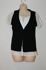 Next Black Knit Waistcoat White Pleat Embroidery Smart Casual 2-in-1 Top Size 10