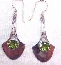 Peridot 925 Silver Handcrafted  Hook Dangled Filigree Earrings skaisMY16