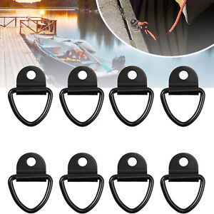 8Pcs V Rings Hook Tie Down Ring Load Anchor Trailer Forged Lashing Truck Black