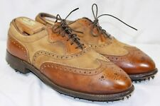 Vintage FootJoy Classics Men's Cognac Brown Nubuc Leather Golf Wingtip 9.5