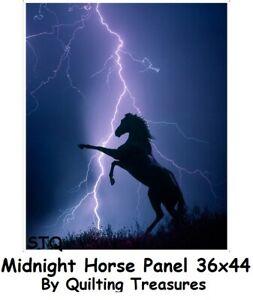 Midnight Storm Horse Panel 36x44 cotton quilt fabric Quiltingn Treasures fabrics