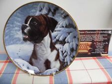 "Danbury Mint Plate by Simon Mendez "" Footprints in the Snow "" The Boxer Dog"