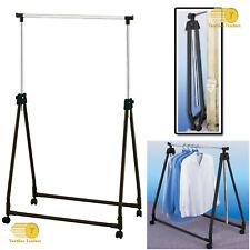 Chrome Foldable Adjustable Portable Garment Dress Hanging Rack Rail Castor Wheel