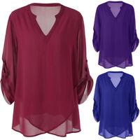 Womens Plus Size T Shirt V-Neck Adjustable Sleeve Chiffon Loose Blouse Top Shirt