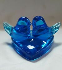 vintage bluebird art glass paperweight signed R Trumbull 1986