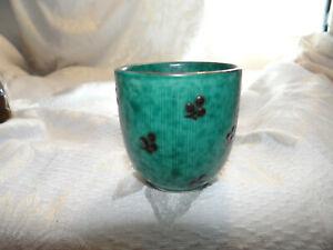 """Vintage Gustavberg Argenta Silver Inlay Ceramic Egg Cup? 2 1/4"""" Sweden"""