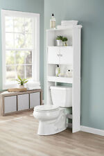 BATHROOM STORAGE WHITE Over the Toilet Space Saver, 3 Shelves Cabinet Doors Wood