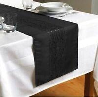 "A Black Embroidered Taffeta Table Runner 90"" x 13""  (230cms x 33cms)"