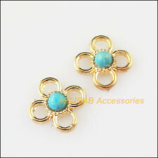 15Pcs Gold Plated Round Blue Turquoise Tiny Flower Charms Connectors 9.5mm