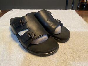 Mootsies Tootsies Black Leather Slip On Slides Sandals Women's Size US 8M EUC