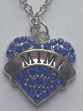 BLUE  MIMI FAMILY GIFT CRYSTAL LOVE HEART PENDANT RHINESTONE NECKLACE
