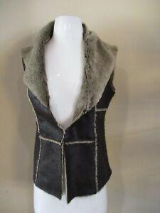 209 Faux Fur leather brown warm winter vest  sz XS  =+