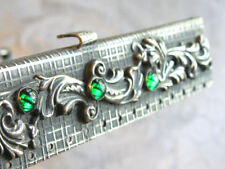 NEAT JEWELED EDWARDIAN HINGED SQUARE PURSE FRAME ONLY EMERALD GREEN GLASS GEMS