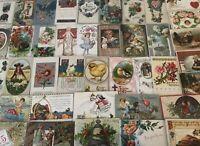 Nice~Lot of 50~Vintage Postcards~Christmas~Valentine~Thanksgiving-Santa~etc-b489