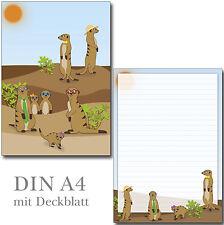 Schreibblock witzige Erdmännchen A4 25 Blatt Briefpapier Motivpapier Briefblock