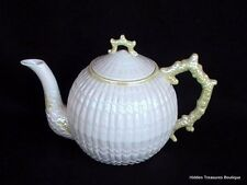 Belleek Limpet Yellow Teapot w/Lid Embossed Shell Cream Yellow Luster Beautiful