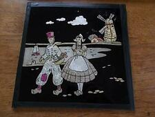 Antique DUTCH Edwardian Glass panel Wall Hanging Plaque National dress Windmill