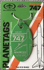 PLANETAGS : EVA AIR GREEN BOEING 747-400 B-16462 AIRCRAFT SKIN (TAG) - AVIATION
