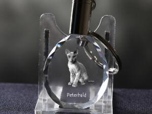 Peterbald, Katze Kristall rund Schlüsselbund, Crystal Animals DE