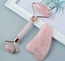 Jade Roller for Face –Rose Quartz Face Roller and Gua Sha Set for Skincare A07