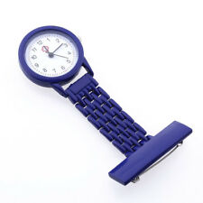 Dark Blue Quartz Movement Nurse Brooch Fob Tunic Pocket Metal Watch J7J4