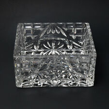 Vintage Clear Cut Glass Square Design Candy Dish - Excellent Condition (PM)