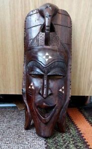 African Wooden Hand Craved Large DecOrotive  Mask VINTAGE