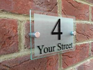 MODERN DOOR NUMBER / ADDRESS PLAQUE GLASS ACRYLIC OUTDOOR HOUSE NAME SIGN