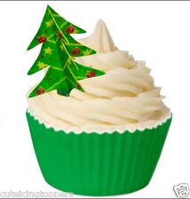 8 PRE CUT 3D EDIBLE RICE WAFER CARD CHRISTMAS TREE CUPCAKE PARTY TOPPERS