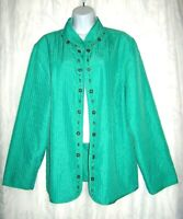 Alfred Dunner Embellished Aqua Quilted Stitched Women's Jacket 16W 1X