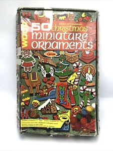 Vtg Arrow Wood 25 Wood MINIATURE Christmas Ornament Kit Paint by Numbers Partial