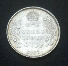 1907 BRITISH INDIA SILVER 2 ANNAS XF+ AU KM 505 113 YEARS OLD COIN