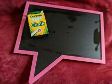 *Fast Shipping* Pink Wooden Chalkboard With New Chalk Set**EUC** Hangable